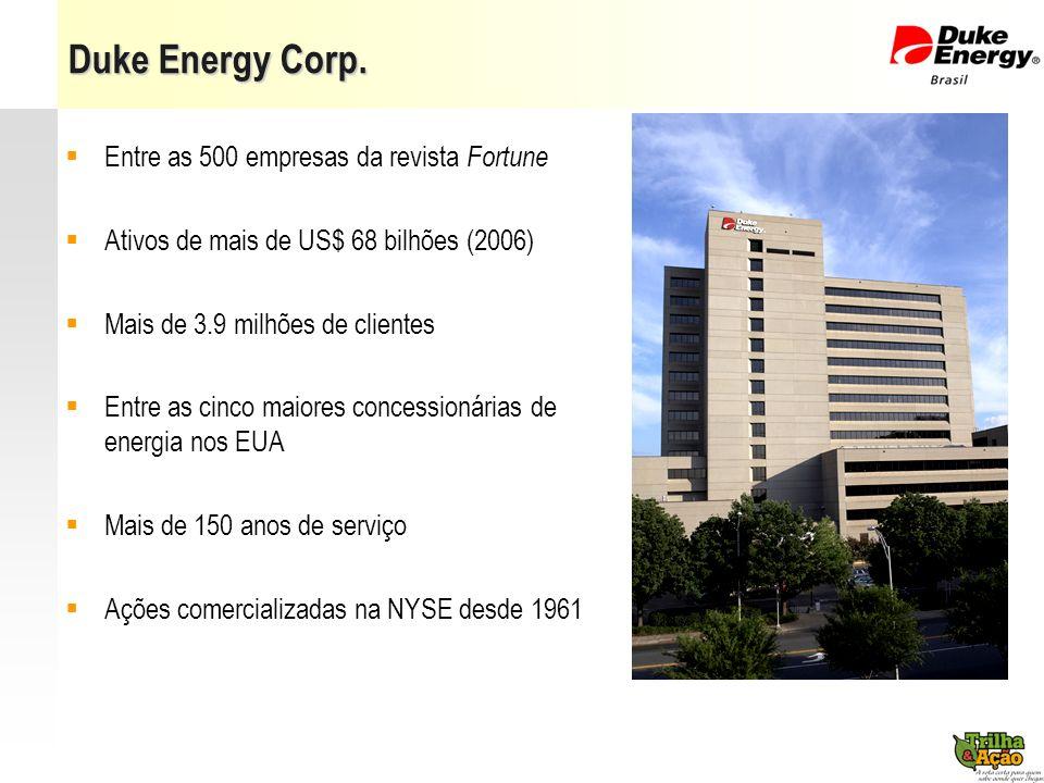 Page 14 Duke Energy Corp. Entre as 500 empresas da revista Fortune Ativos de mais de US$ 68 bilhões (2006) Mais de 3.9 milhões de clientes Entre as ci