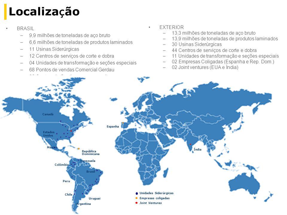 Localiza ç ão BRASIL –9,9 milhões de toneladas de aço bruto –6,6 milhões de toneladas de produtos laminados –11 Usinas Siderúrgicas –12 Centros de ser