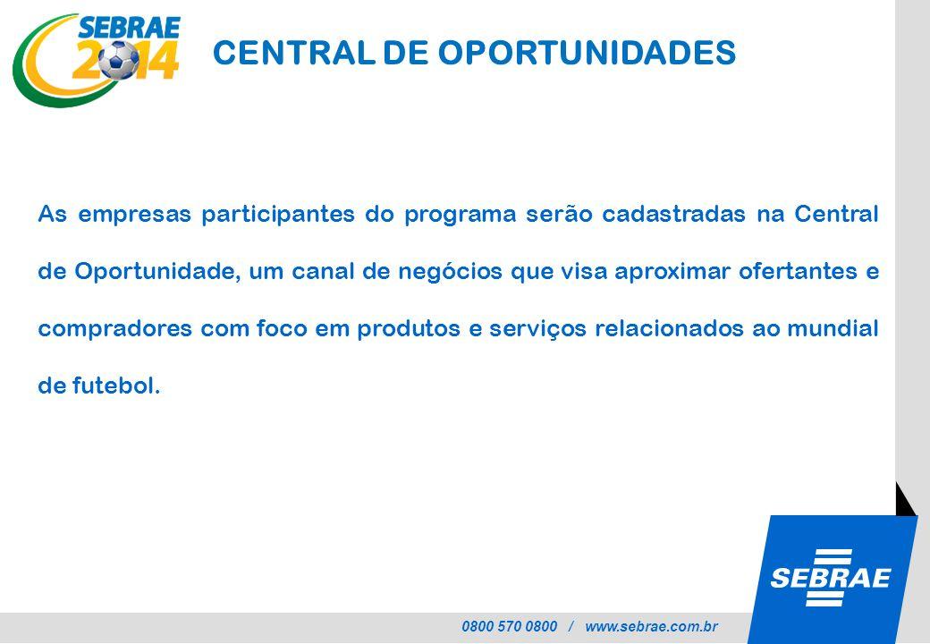 0800 570 0800 / www.sebrae.com.br CENTRAL DE OPORTUNIDADES As empresas participantes do programa serão cadastradas na Central de Oportunidade, um cana