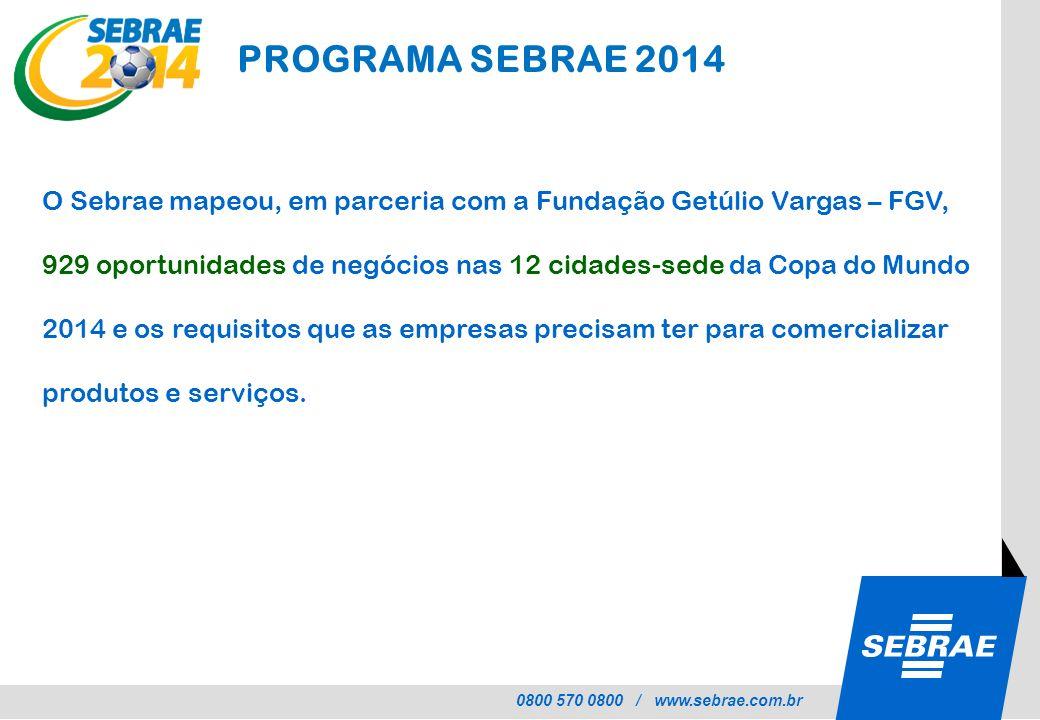0800 570 0800 / www.sebrae.com.br O Sebrae mapeou, em parceria com a Fundação Getúlio Vargas – FGV, 929 oportunidades de negócios nas 12 cidades-sede