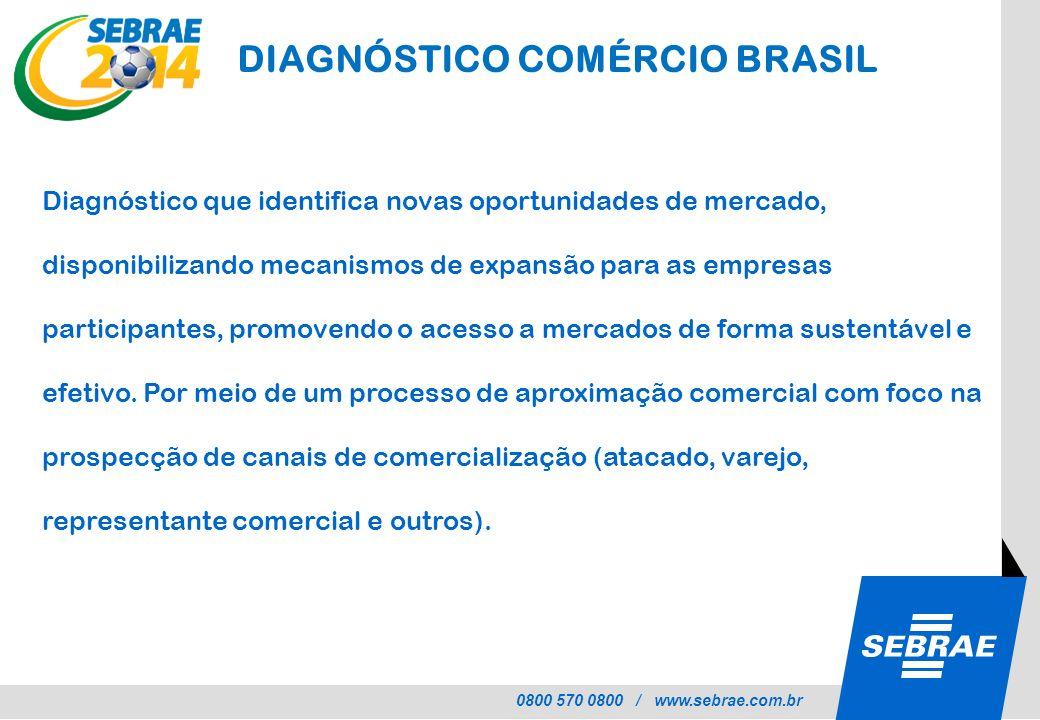 0800 570 0800 / www.sebrae.com.br DIAGNÓSTICO COMÉRCIO BRASIL Diagnóstico que identifica novas oportunidades de mercado, disponibilizando mecanismos d