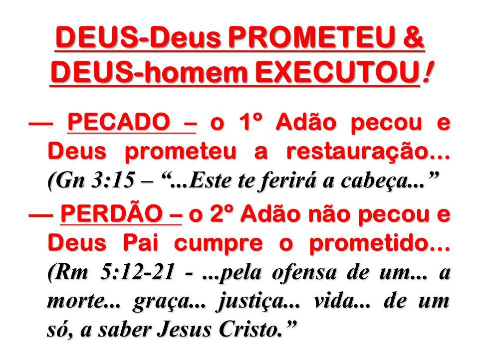 DEUS-Deus PROMETEU & DEUS-homem EXECUTOU! PECADO – o 1º Adão pecou e Deus prometeu a restauração... (Gn 3:15 –...Este te ferirá a cabeça... PECADO – o
