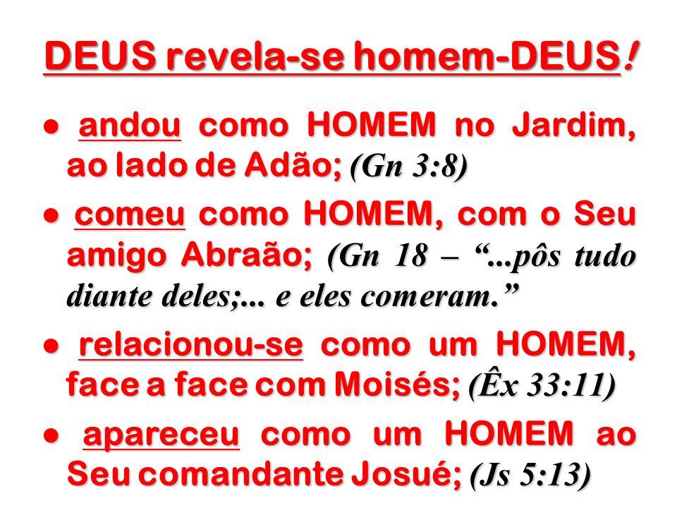 DEUS revela-se homem-DEUS! andou como HOMEM no Jardim, ao lado de Adão; (Gn 3:8) andou como HOMEM no Jardim, ao lado de Adão; (Gn 3:8) comeu como HOME