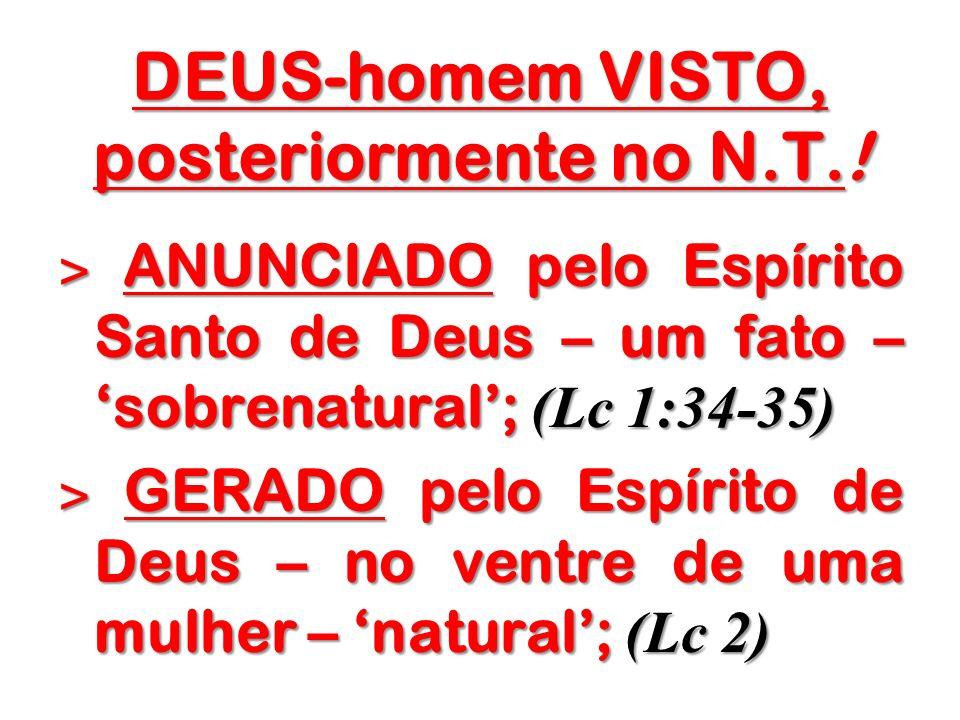DEUS-homem VISTO, posteriormente no N.T.! ˃ ANUNCIADO pelo Espírito Santo de Deus – um fato – sobrenatural; (Lc 1:34-35) ˃ GERADO pelo Espírito de Deu