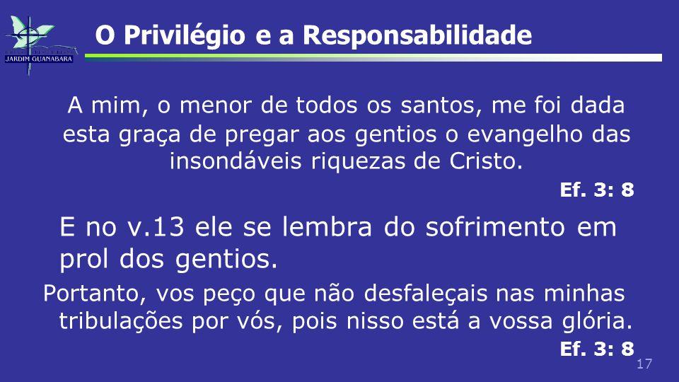 17 O Privilégio e a Responsabilidade A mim, o menor de todos os santos, me foi dada esta graça de pregar aos gentios o evangelho das insondáveis rique