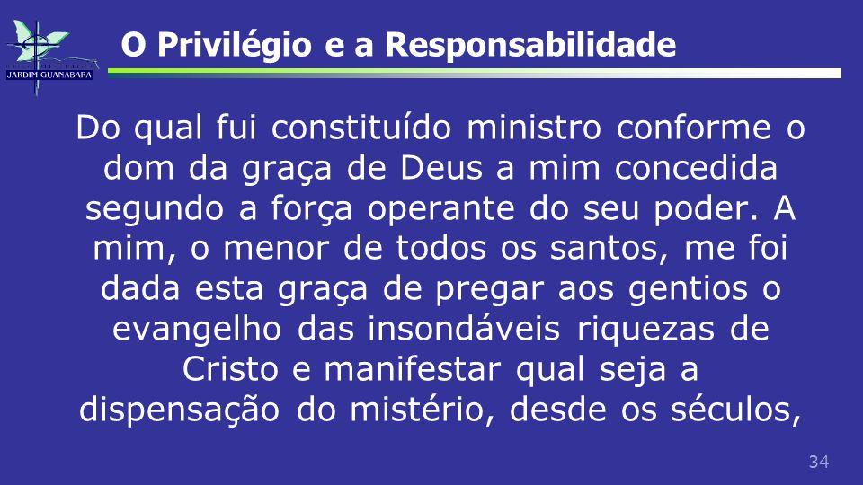 34 O Privilégio e a Responsabilidade Do qual fui constituído ministro conforme o dom da graça de Deus a mim concedida segundo a força operante do seu