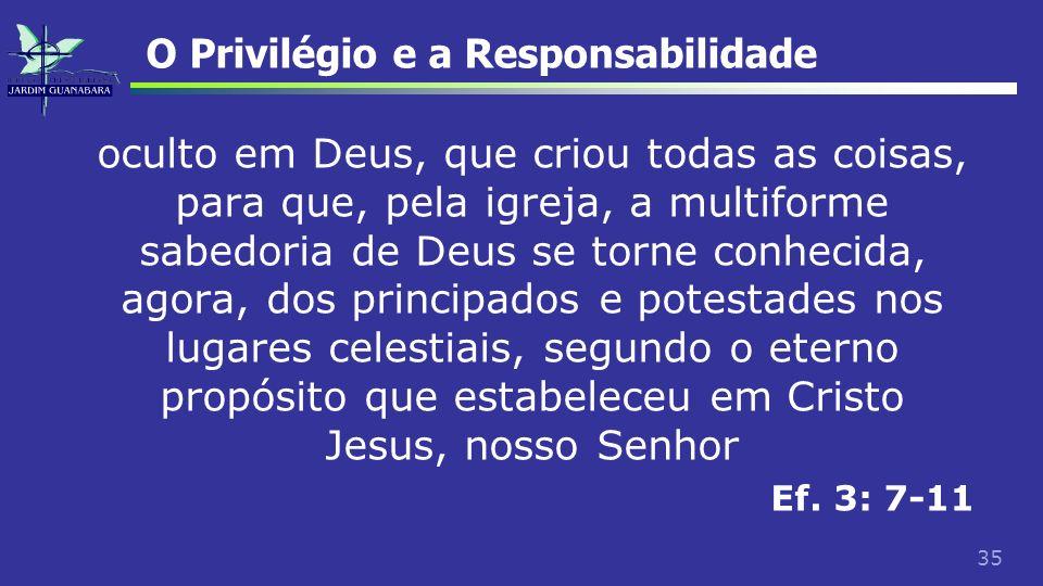 35 O Privilégio e a Responsabilidade oculto em Deus, que criou todas as coisas, para que, pela igreja, a multiforme sabedoria de Deus se torne conheci