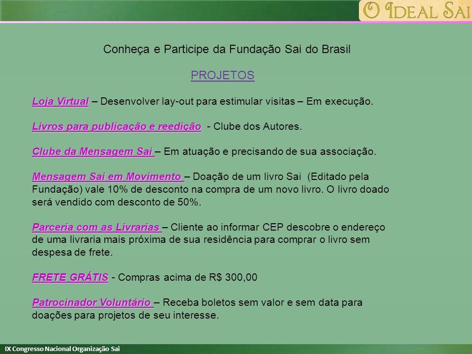 IX Congresso Nacional Organização Sai Conheça e Participe da Fundação Sai do Brasil PROJETOS Loja Virtual Loja Virtual – Desenvolver lay-out para esti