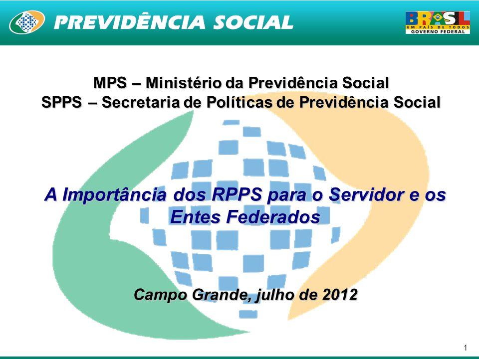 1 MPS – Ministério da Previdência Social SPPS – Secretaria de Políticas de Previdência Social A Importância dos RPPS para o Servidor e os Entes Federa