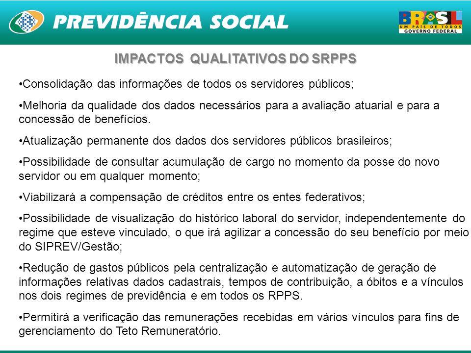 15 Consolidação das informações de todos os servidores públicos; Melhoria da qualidade dos dados necessários para a avaliação atuarial e para a conces