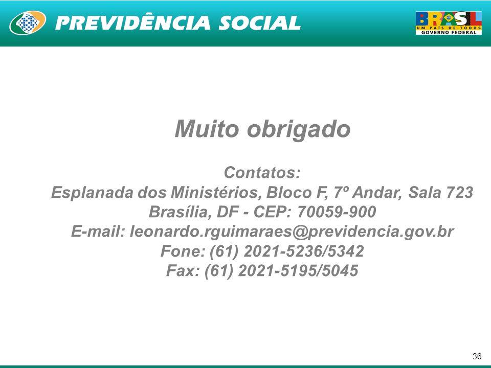 36 Muito obrigado Contatos: Esplanada dos Ministérios, Bloco F, 7º Andar, Sala 723 Brasília, DF - CEP: 70059-900 E-mail: leonardo.rguimaraes@previdenc