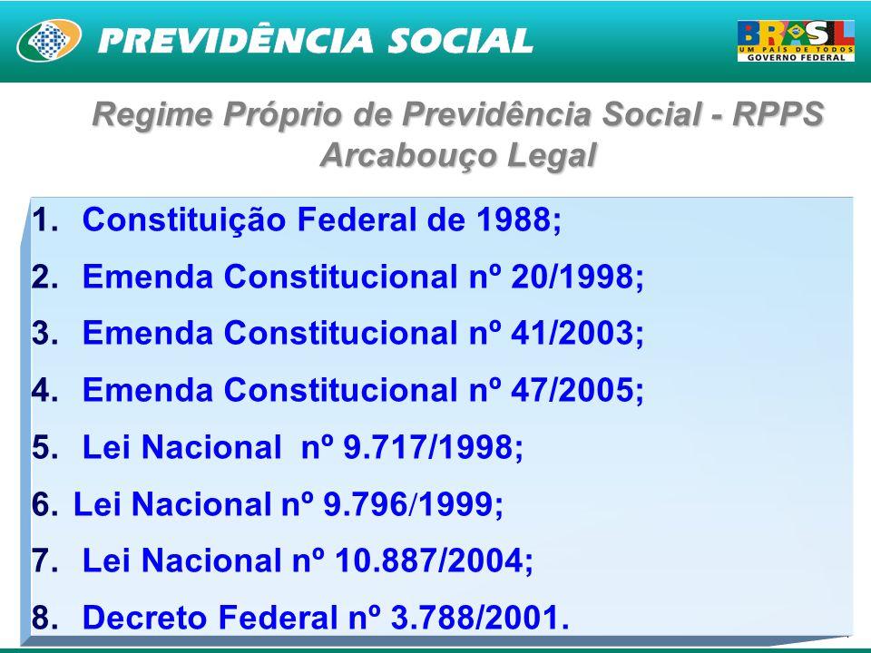 4 Regime Próprio de Previdência Social - RPPS Arcabouço Legal 1. Constituição Federal de 1988; 2. Emenda Constitucional nº 20/1998; 3. Emenda Constitu