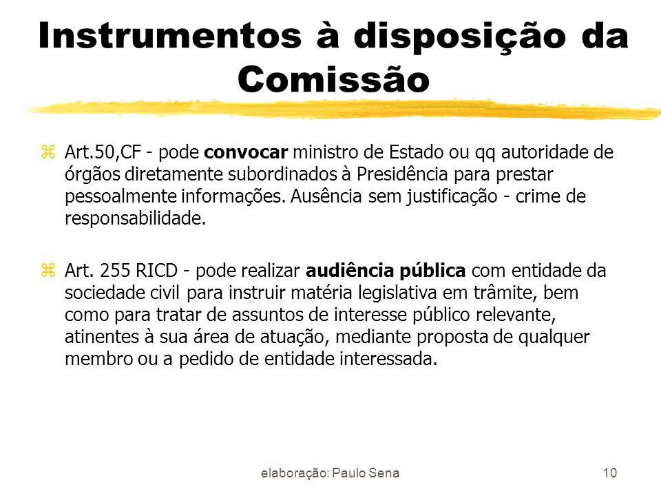 Instrumentos à disposição da Comissão zArt.50,CF - pode convocar ministro de Estado ou qq autoridade de órgãos diretamente subordinados à Presidência