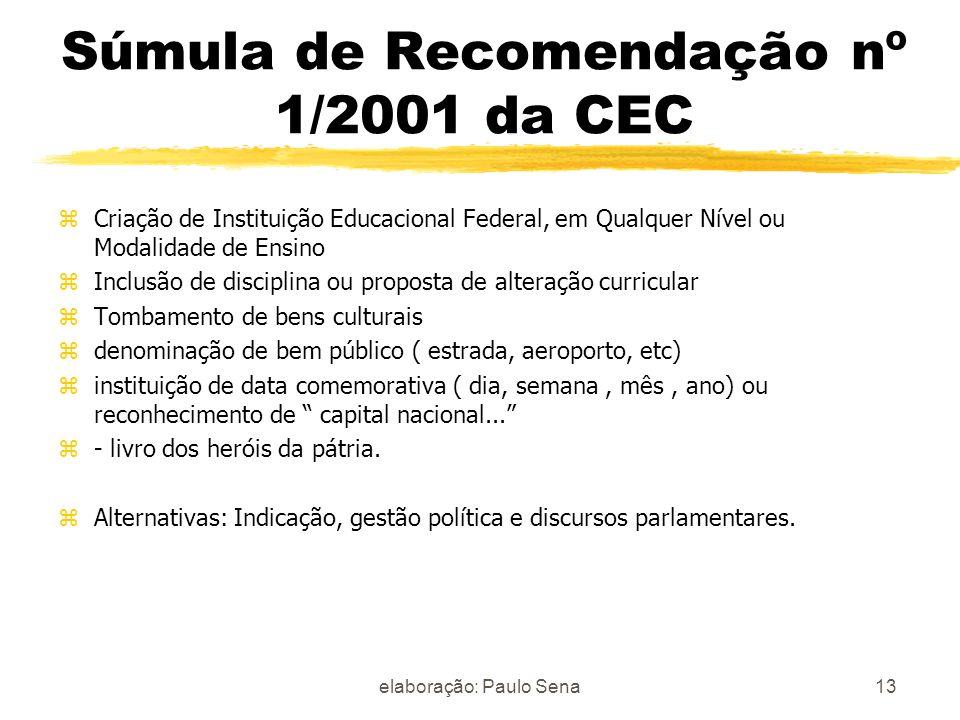 Súmula de Recomendação nº 1/2001 da CEC zCriação de Instituição Educacional Federal, em Qualquer Nível ou Modalidade de Ensino zInclusão de disciplina