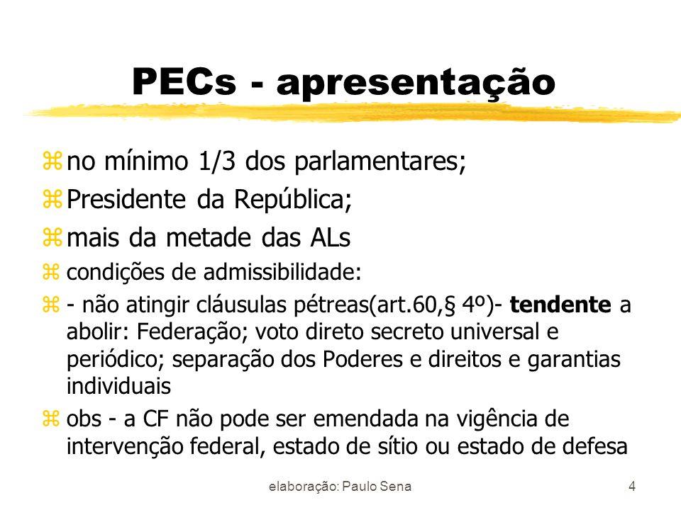 PEC - características da tramitação z- CCJC - pronuncia-se sobre a admissibilidade - 5 sessões z- Se admitida, é constituída Comissão Especial - 40 sessões zno plenário: 2 turnos de discussão e votação z- aprovação: 3/5 dos membros 5elaboração: Paulo Sena