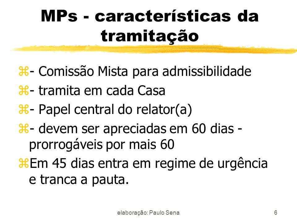 MPs - características da tramitação z- Comissão Mista para admissibilidade z- tramita em cada Casa z- Papel central do relator(a) z- devem ser aprecia