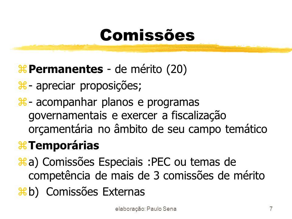 Comissões zPermanentes - de mérito (20) z- apreciar proposições; z- acompanhar planos e programas governamentais e exercer a fiscalização orçamentária