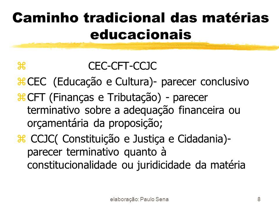 Caminho tradicional das matérias educacionais z CEC-CFT-CCJC zCEC (Educação e Cultura)- parecer conclusivo zCFT (Finanças e Tributação) - parecer term