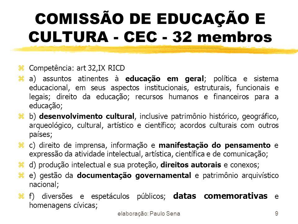 COMISSÃO DE EDUCAÇÃO E CULTURA - CEC - 32 membros zCompetência: art 32,IX RICD za) assuntos atinentes à educação em geral; política e sistema educacio