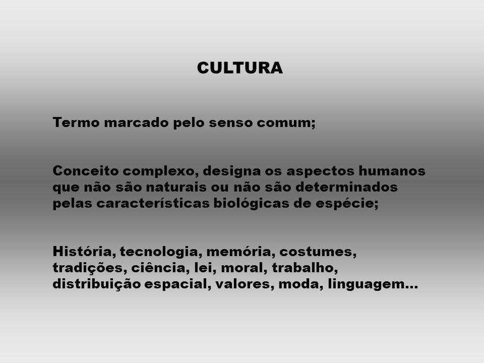 CULTURA Termo marcado pelo senso comum; Conceito complexo, designa os aspectos humanos que não são naturais ou não são determinados pelas características biológicas de espécie; História, tecnologia, memória, costumes, tradições, ciência, lei, moral, trabalho, distribuição espacial, valores, moda, linguagem...
