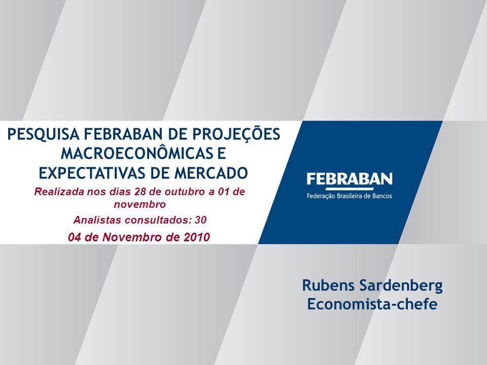 Apresentação ao Senado Realizada nos dias 28 de outubro a 01 de novembro Analistas consultados: 30 PESQUISA FEBRABAN DE PROJEÇÕES MACROECONÔMICAS E EXPECTATIVAS DE MERCADO Rubens Sardenberg Economista-chefe 04 de Novembro de 2010