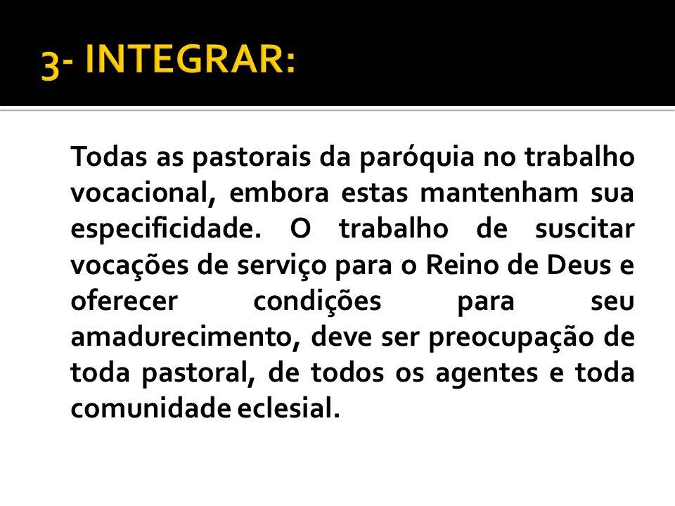 Todas as pastorais da paróquia no trabalho vocacional, embora estas mantenham sua especificidade. O trabalho de suscitar vocações de serviço para o Re
