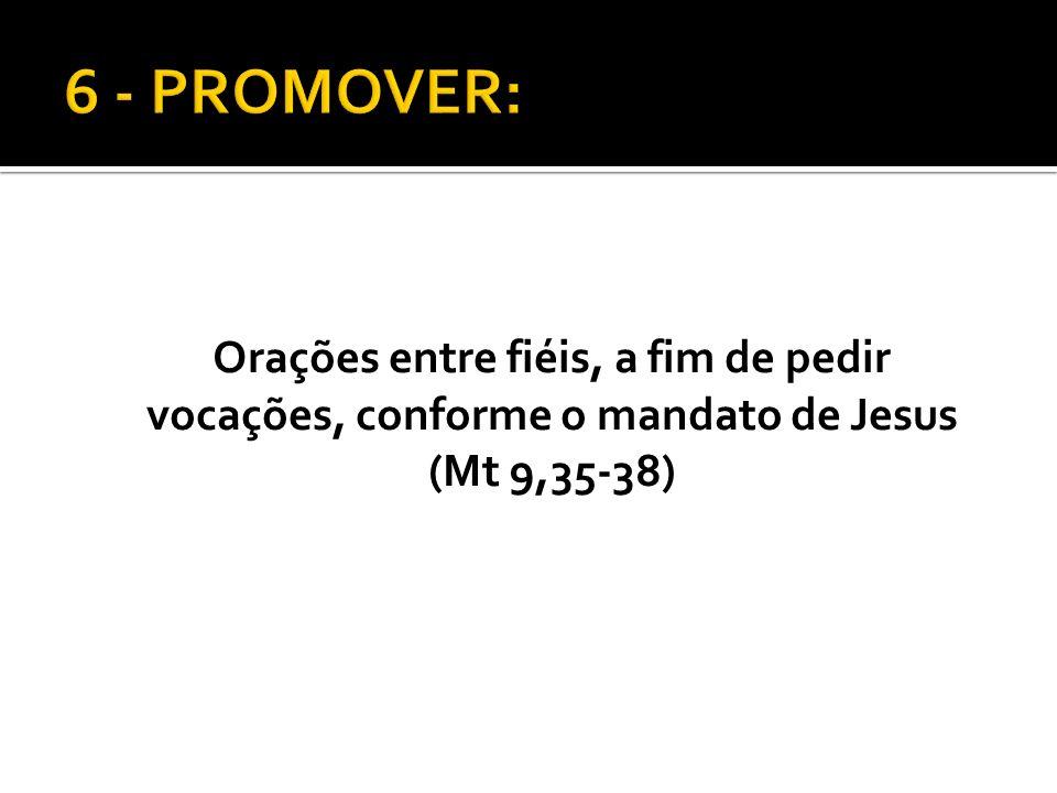 Orações entre fiéis, a fim de pedir vocações, conforme o mandato de Jesus (Mt 9,35-38)