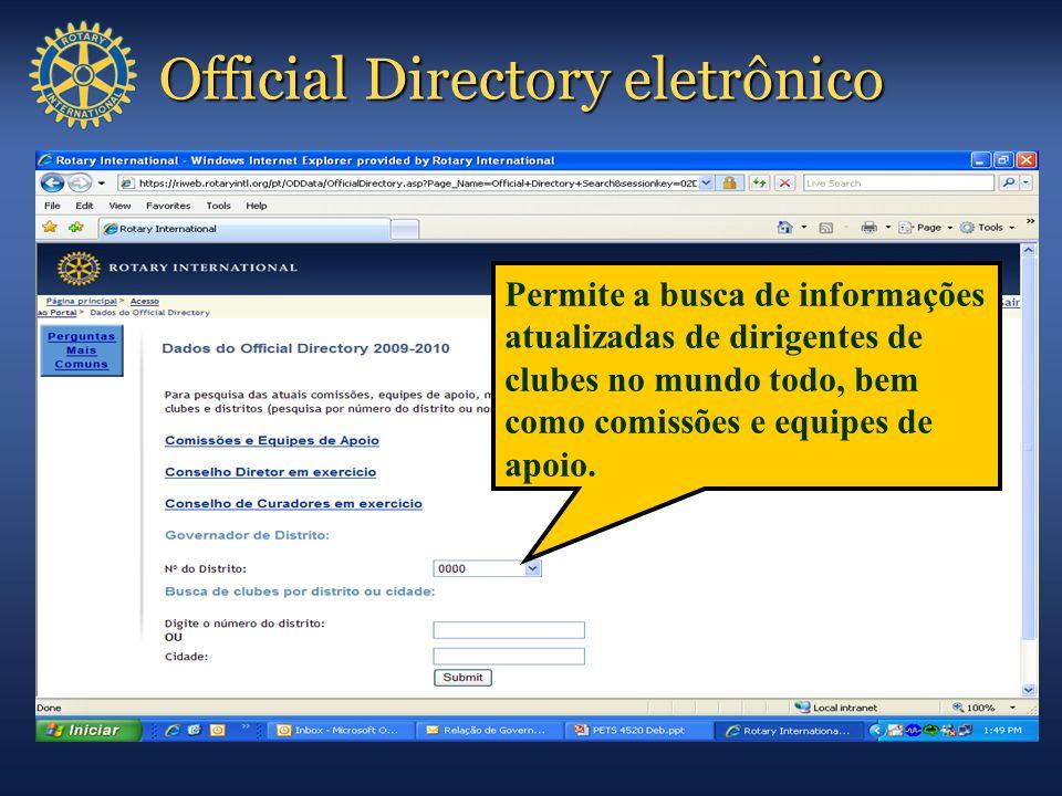 Official Directory eletrônico Permite a busca de informações atualizadas de dirigentes de clubes no mundo todo, bem como comissões e equipes de apoio.