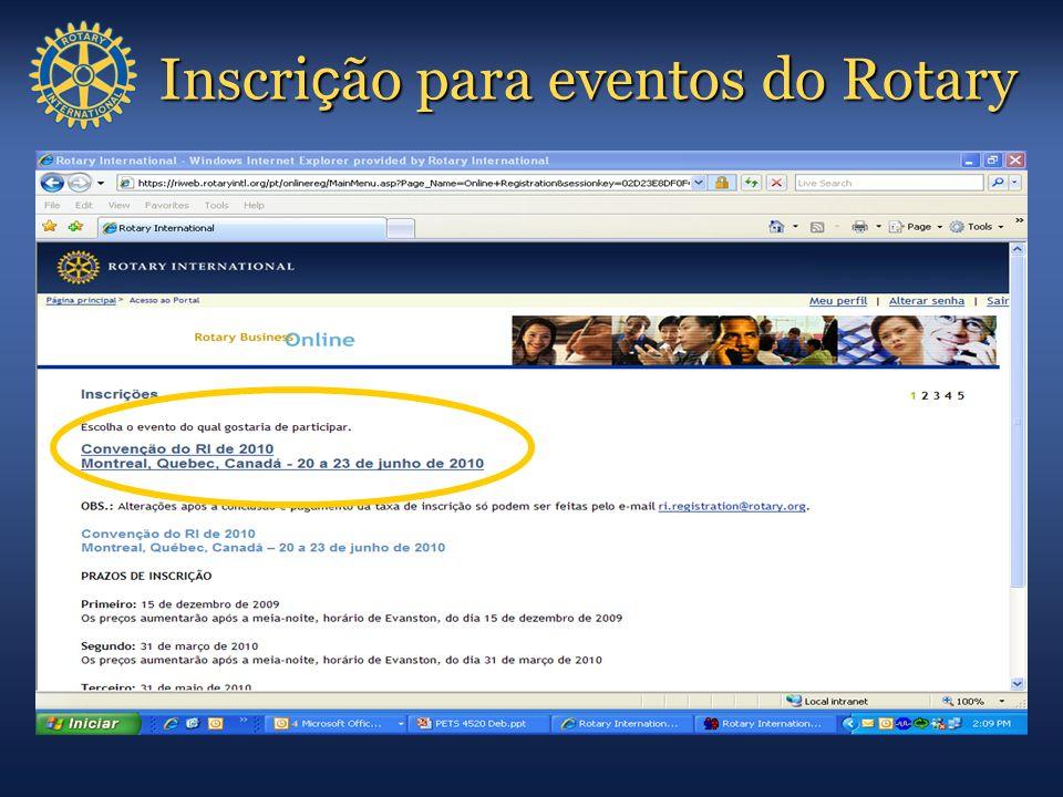Inscri ç ão para eventos do Rotary