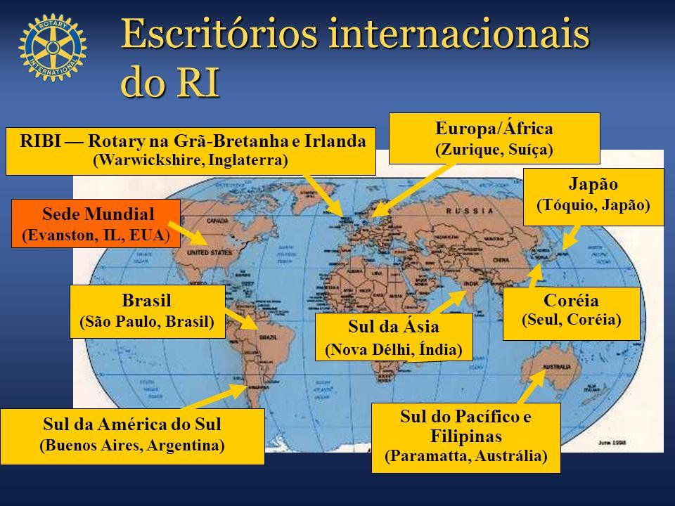 Escritórios internacionais do RI Sede Mundial (Evanston, IL, EUA) Sul da América do Sul (Buenos Aires, Argentina) Sul do Pacífico e Filipinas (Paramat