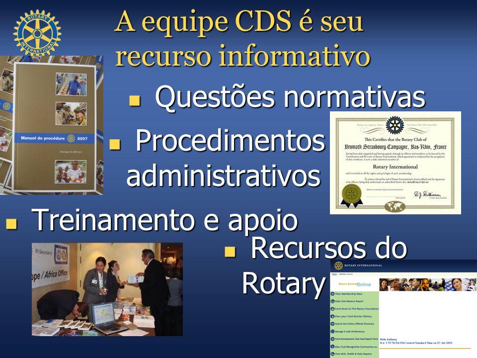 A equipe CDS é seu recurso informativo Recursos do Rotary Recursos do Rotary Procedimentos administrativos Procedimentos administrativos Questões norm