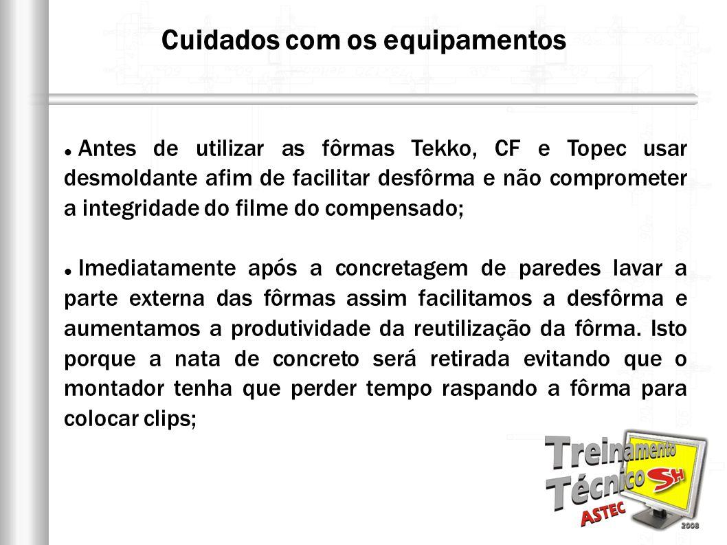 Antes de utilizar as fôrmas Tekko, CF e Topec usar desmoldante afim de facilitar desfôrma e não comprometer a integridade do filme do compensado; Imed