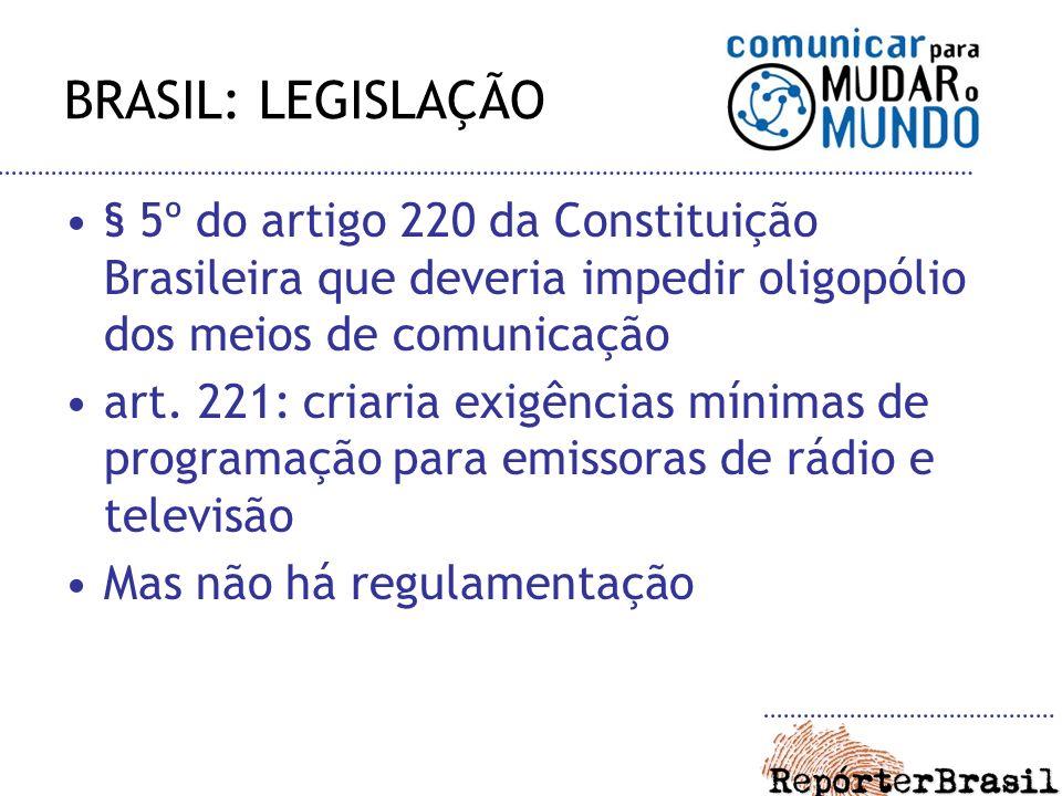 BRASIL: LEGISLAÇÃO § 5º do artigo 220 da Constituição Brasileira que deveria impedir oligopólio dos meios de comunicação art. 221: criaria exigências