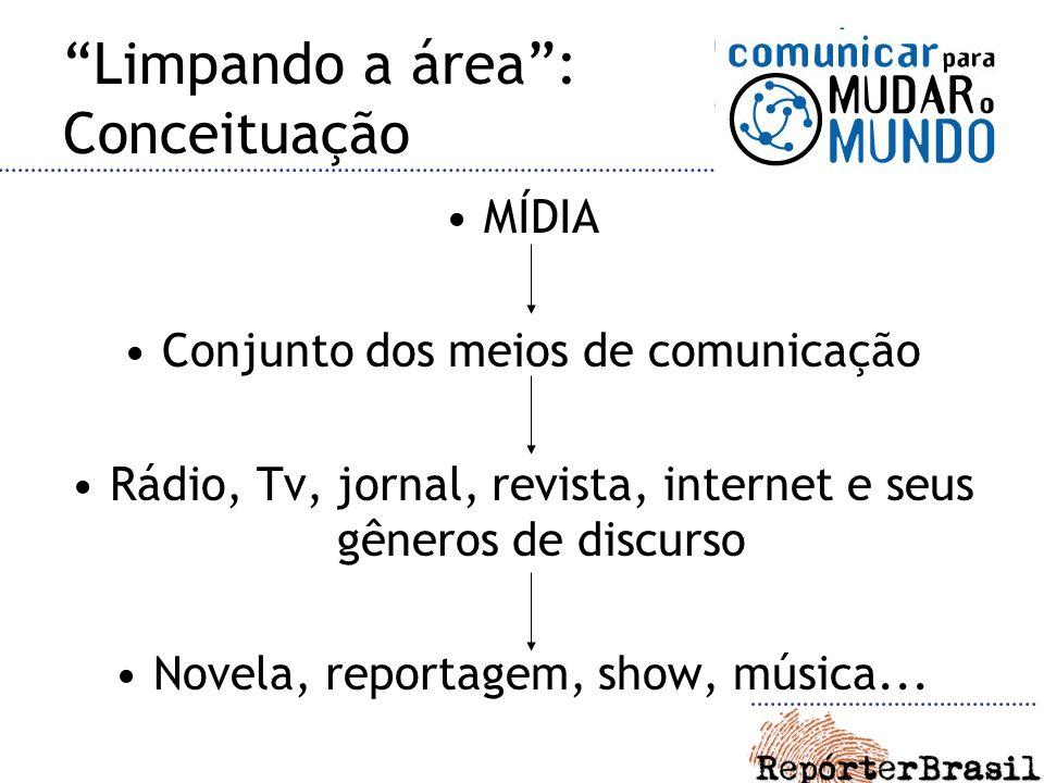 Limpando a área: Conceituação MÍDIA Conjunto dos meios de comunicação Rádio, Tv, jornal, revista, internet e seus gêneros de discurso Novela, reportagem, show, música...