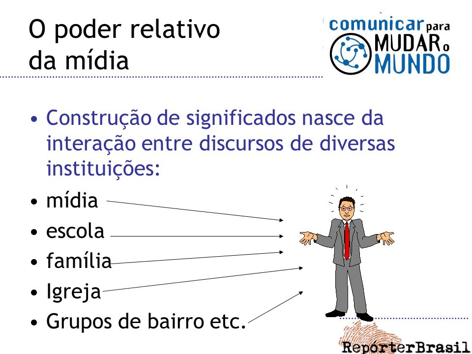 O poder relativo da mídia Construção de significados nasce da interação entre discursos de diversas instituições: mídia escola família Igreja Grupos de bairro etc.