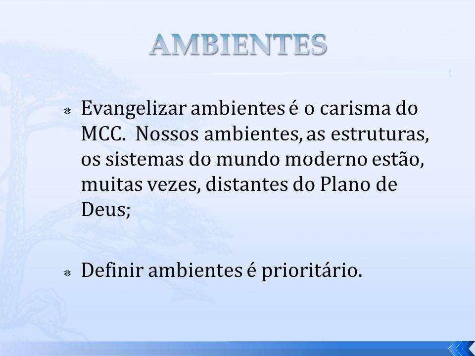 Evangelizar ambientes é o carisma do MCC. Nossos ambientes, as estruturas, os sistemas do mundo moderno estão, muitas vezes, distantes do Plano de Deu