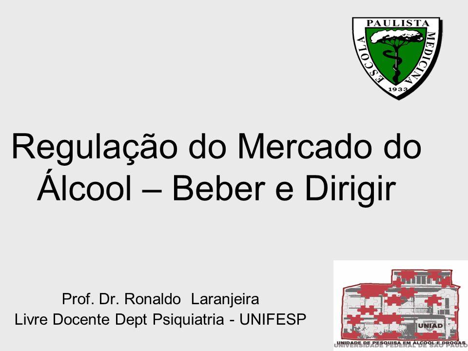 Regulação do Mercado do Álcool – Beber e Dirigir Prof. Dr. Ronaldo Laranjeira Livre Docente Dept Psiquiatria - UNIFESP