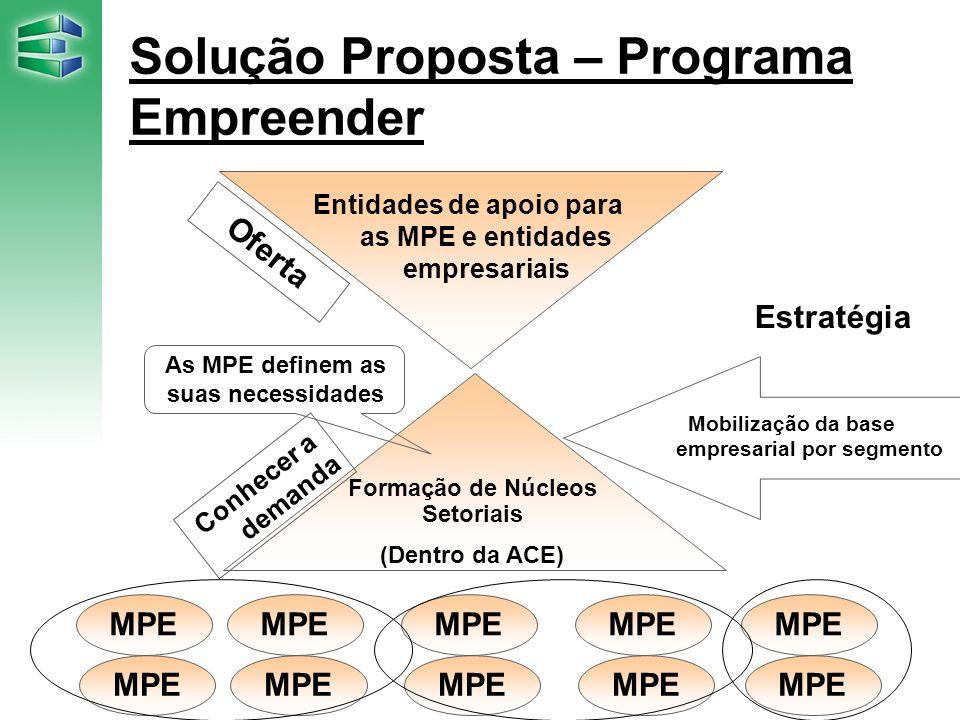 Solução Proposta – Programa Empreender Oferta Entidades de apoio para as MPE e entidades empresariais Formação de Núcleos Setoriais (Dentro da ACE) Co