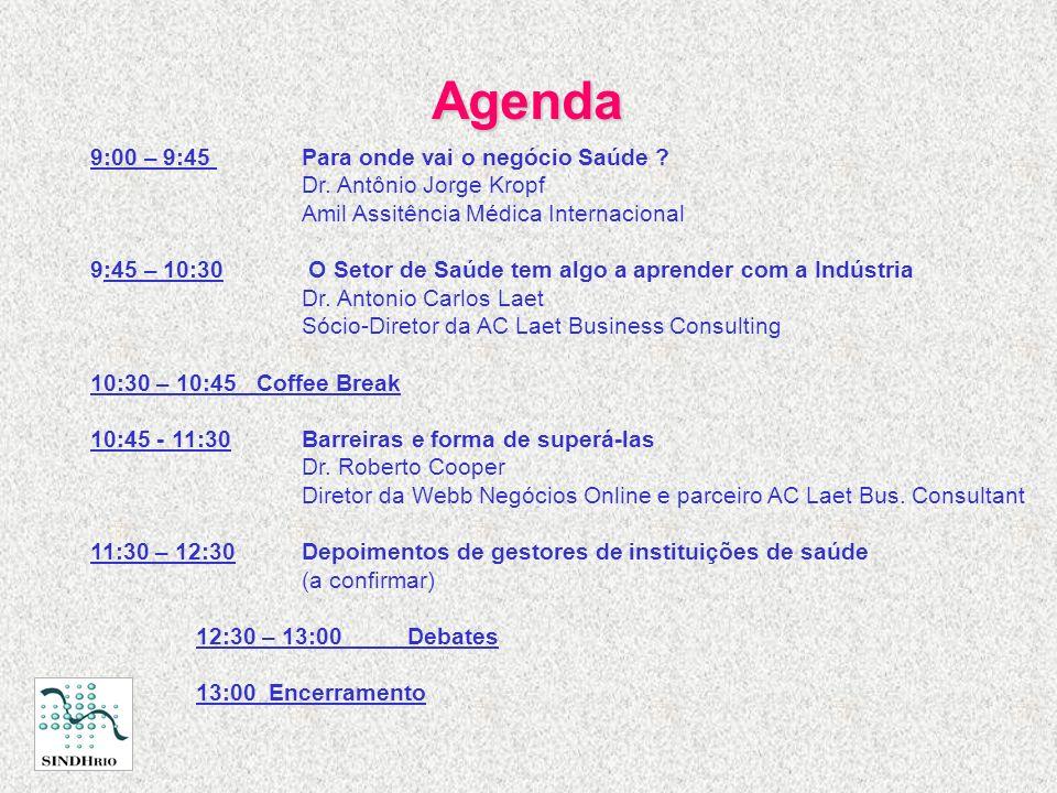 Agenda 9:00 – 9:45 Para onde vai o negócio Saúde ? Dr. Antônio Jorge Kropf Amil Assitência Médica Internacional 9:45 – 10:30 O Setor de Saúde tem algo