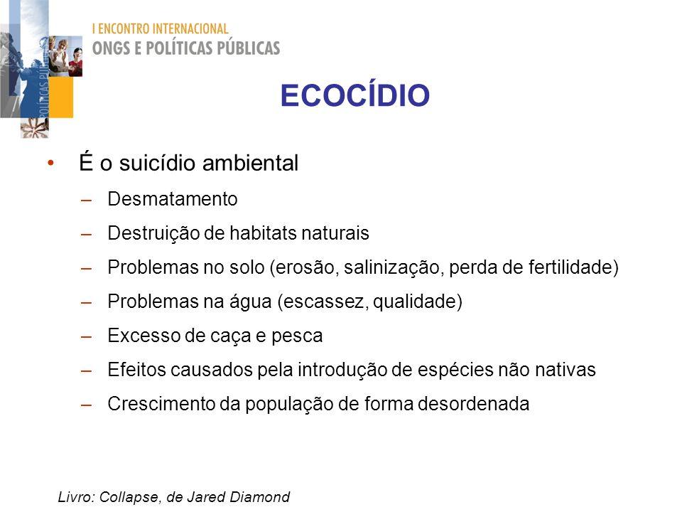 Livro: Collapse, de Jared Diamond É o suicídio ambiental – Desmatamento – Destruição de habitats naturais – Problemas no solo (erosão, salinização, pe
