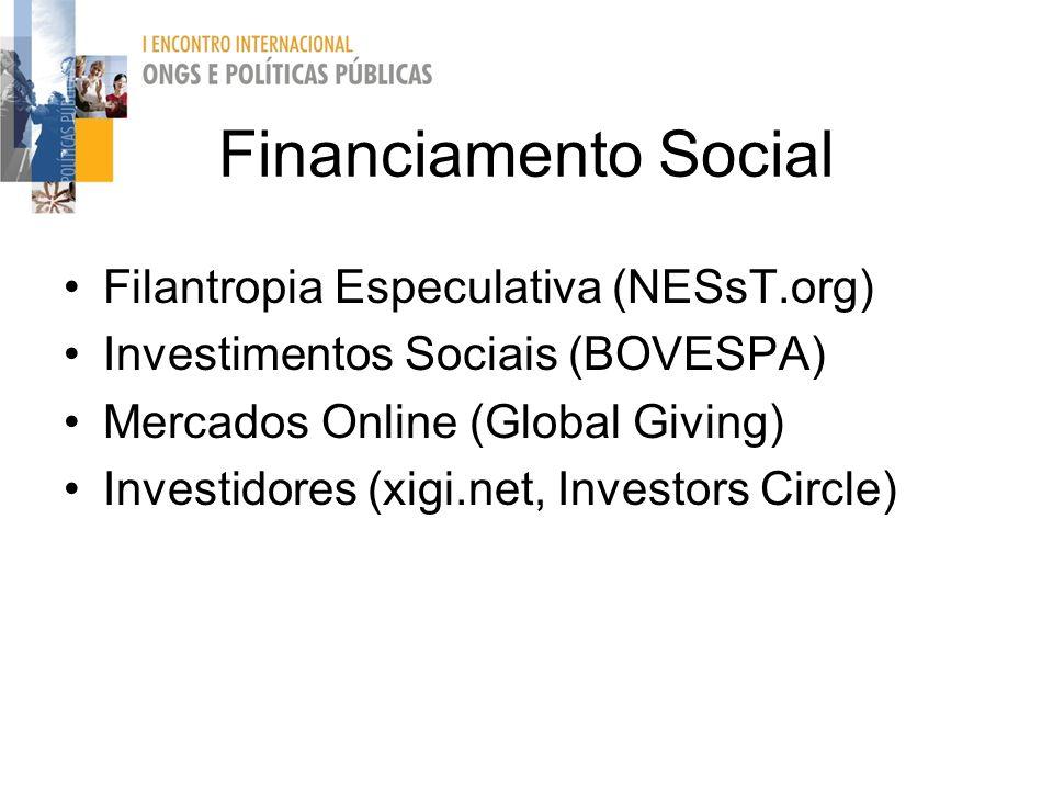 Financiamento Social Filantropia Especulativa (NESsT.org) Investimentos Sociais (BOVESPA) Mercados Online (Global Giving) Investidores (xigi.net, Inve