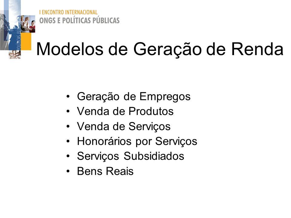 Modelos de Geração de Renda Geração de Empregos Venda de Produtos Venda de Serviços Honorários por Serviços Serviços Subsidiados Bens Reais