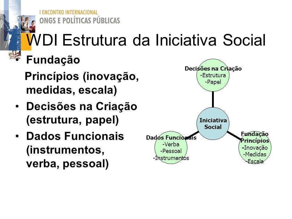 WDI Estrutura da Iniciativa Social Fundação Princípios (inovação, medidas, escala) Decisões na Criação (estrutura, papel) Dados Funcionais (instrument