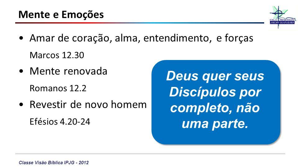 Classe Visão Bíblica IPJG - 2012 Amar de coração, alma, entendimento, e forças Marcos 12.30 Mente renovada Romanos 12.2 Revestir de novo homem Efésios