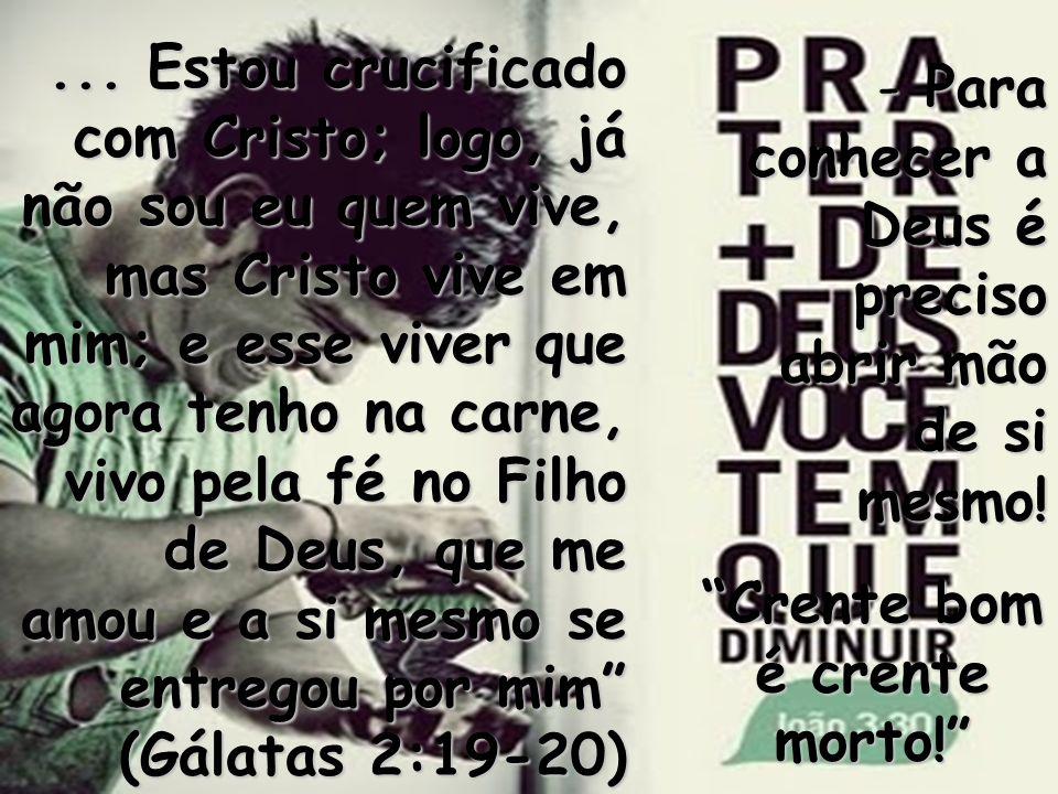 ... Estou crucificado com Cristo; logo, já não sou eu quem vive, mas Cristo vive em mim; e esse viver que agora tenho na carne, vivo pela fé no Filho
