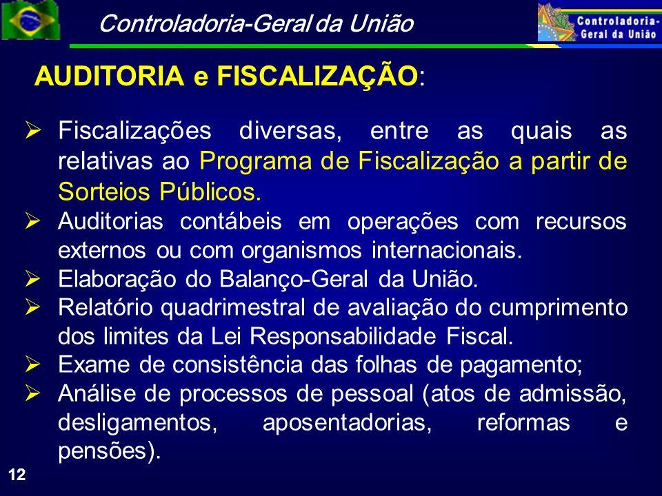Controladoria-Geral da União 12 Fiscalizações diversas, entre as quais as relativas ao Programa de Fiscalização a partir de Sorteios Públicos. Auditor