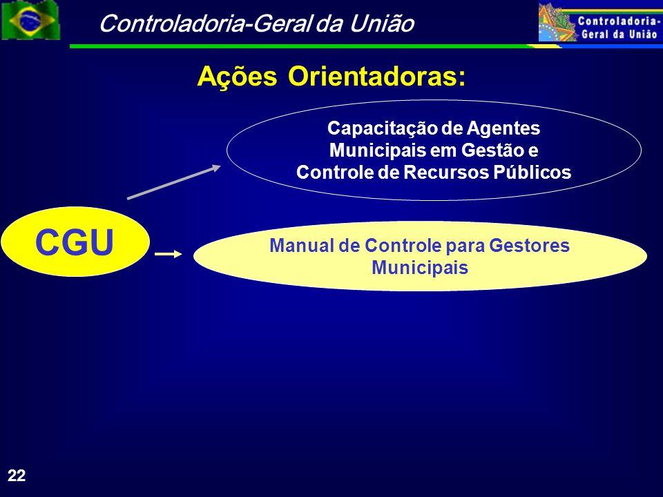 Controladoria-Geral da União 22 CGU Capacitação de Agentes Municipais em Gestão e Controle de Recursos Públicos Manual de Controle para Gestores Munic