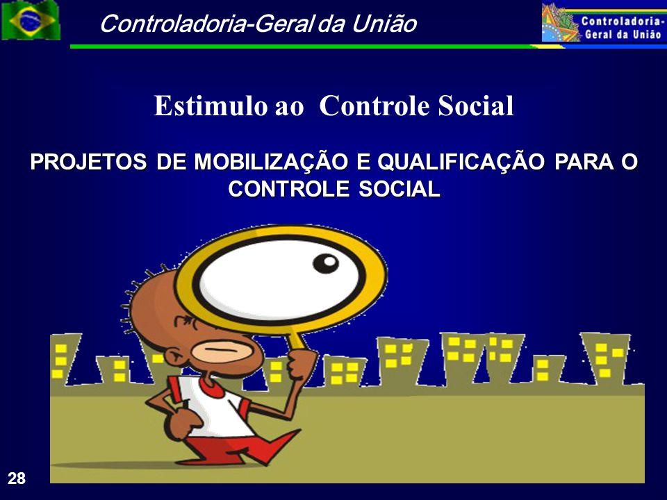 Controladoria-Geral da União 28 PROJETOS DE MOBILIZAÇÃO E QUALIFICAÇÃO PARA O CONTROLE SOCIAL Estimulo ao Controle Social