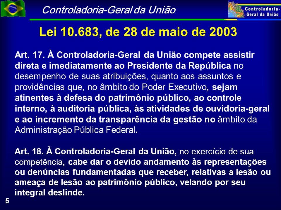 Controladoria-Geral da União 5 Lei 10.683, de 28 de maio de 2003 Art. 17. À Controladoria-Geral da União compete assistir direta e imediatamente ao Pr
