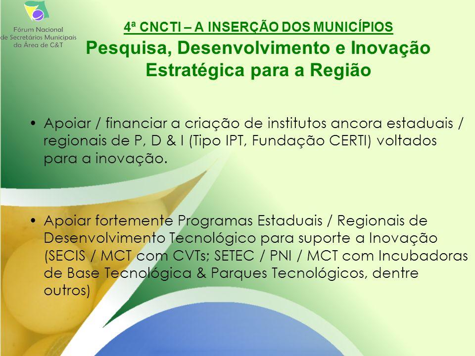 Apoiar / financiar a criação de institutos ancora estaduais / regionais de P, D & I (Tipo IPT, Fundação CERTI) voltados para a inovação.